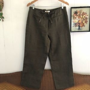 Irish Linen Green Cropped Trousers